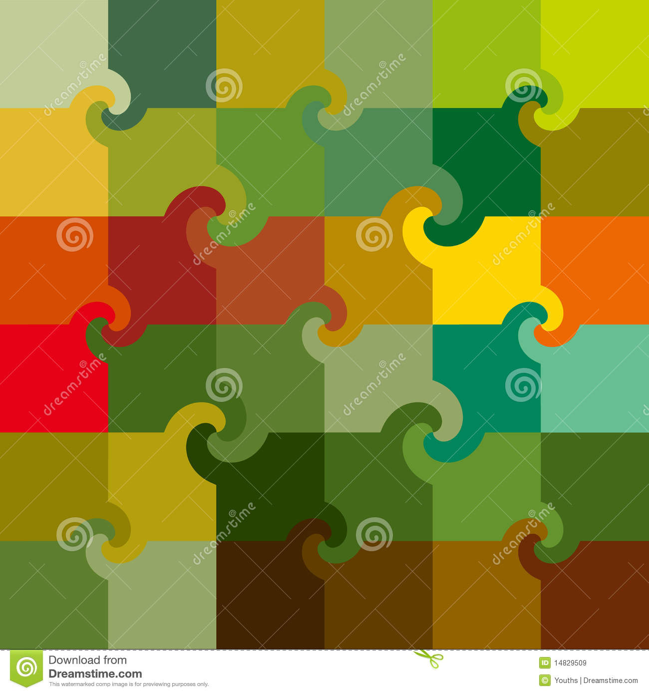 Vector colored swirl squares pattern