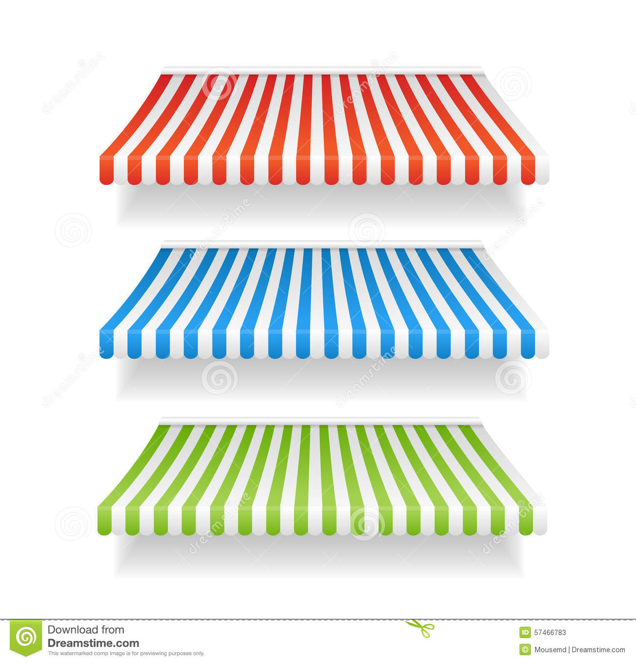 Vector Colorful Awnings For Shop Set Stock Vector Image