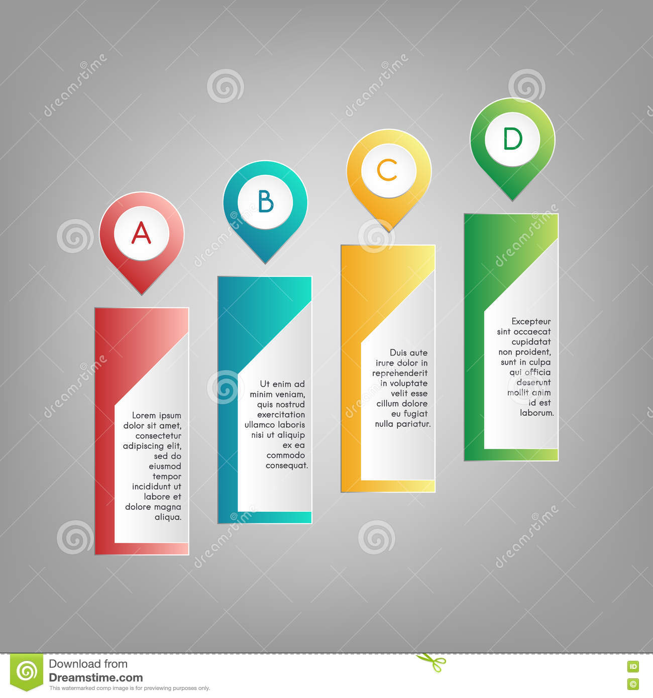 Vector Colorful A B C D Pointers With Information Text Frames