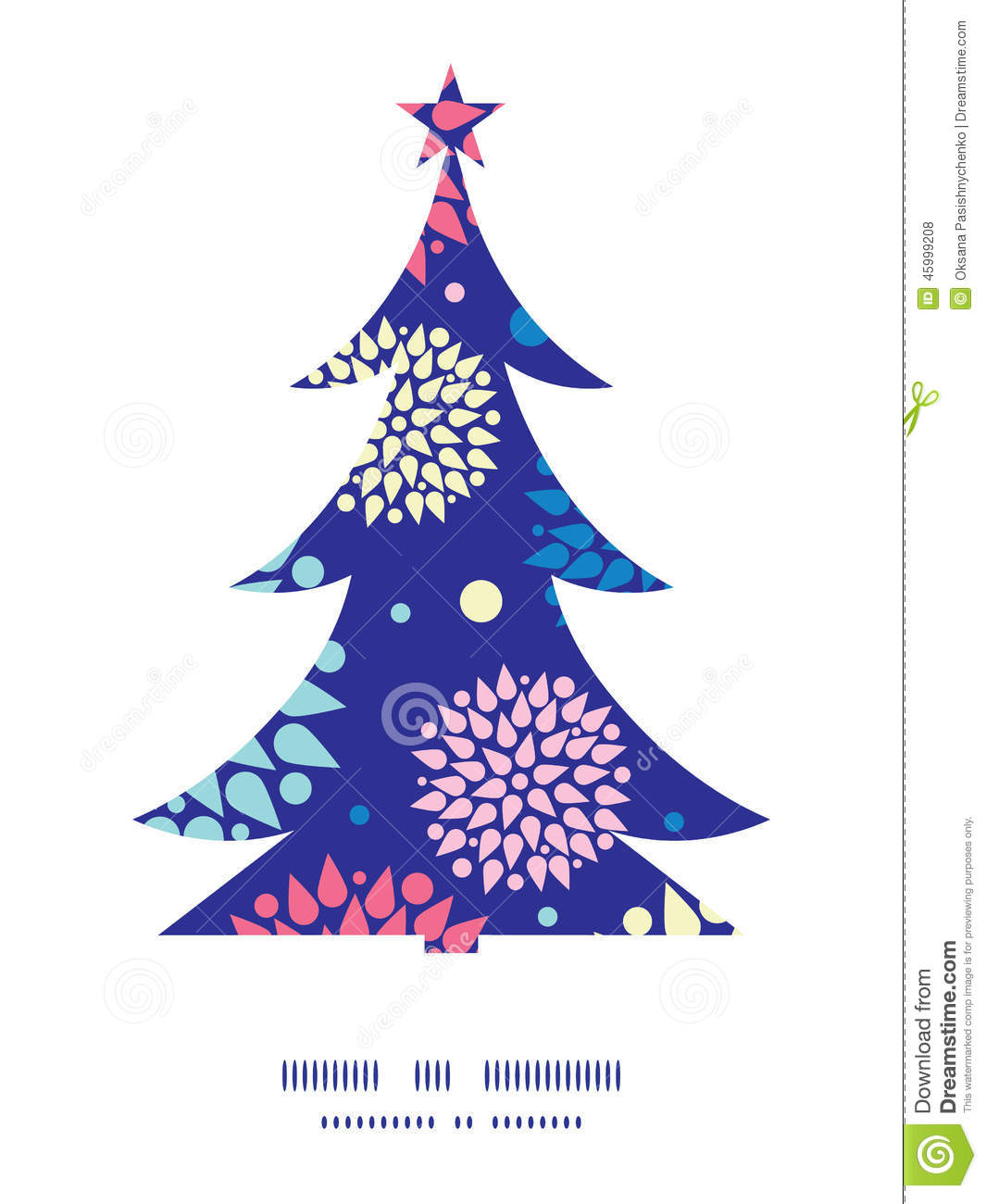 Vector Colorful Bursts Christmas Tree Silhouette Stock Vector - Image ...