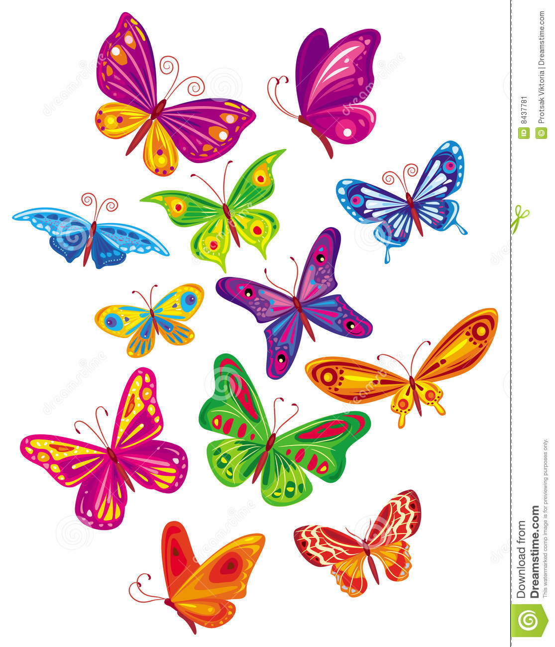 Colorful Butterflies Clipart on Stock Illustration Fish Silhouette