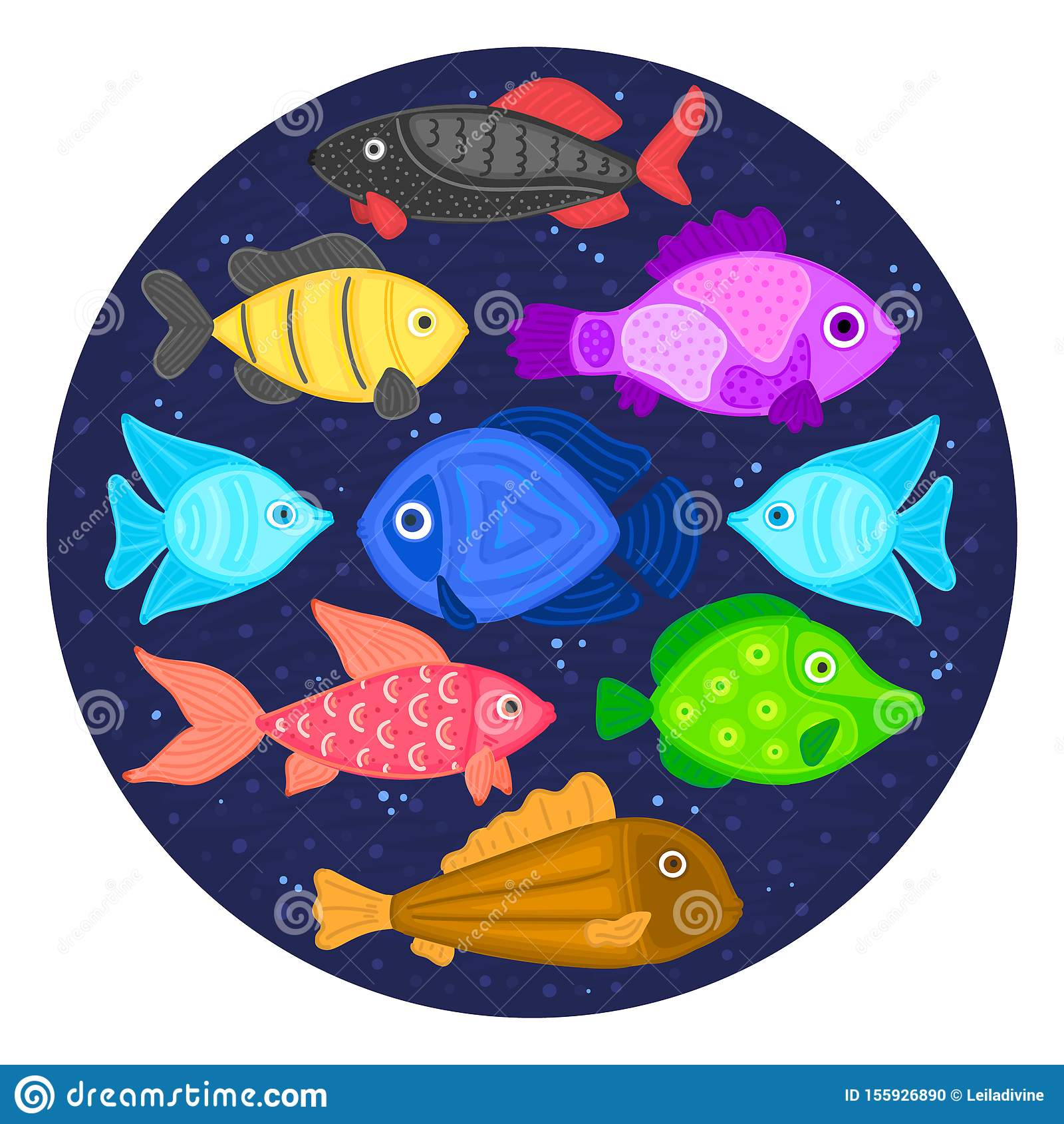 Vector colorful cartoon fish in circular shape. Undersea world. Aquarium. Cute marine life. Pisces