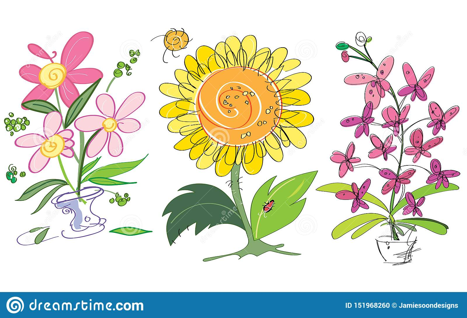 Vector colorful creative sunflower, orchids and pink flowers. Suitable for greeting cards.