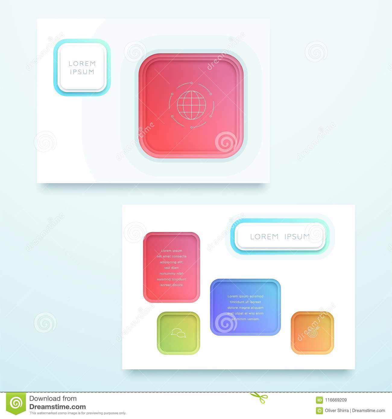 vector colorful 3d square landscape page template stock vector