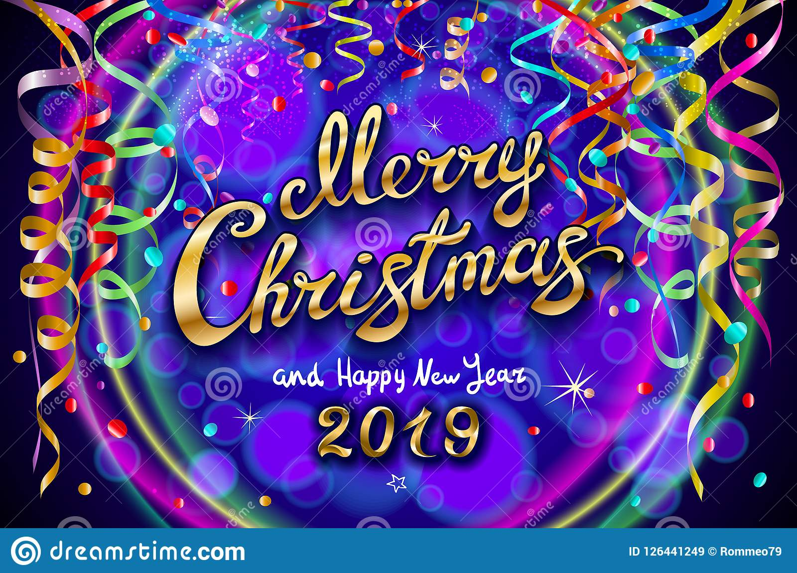 vector colorful festive illustration celebratory party decoration blue neon background golden merry christmas happy new 126441249