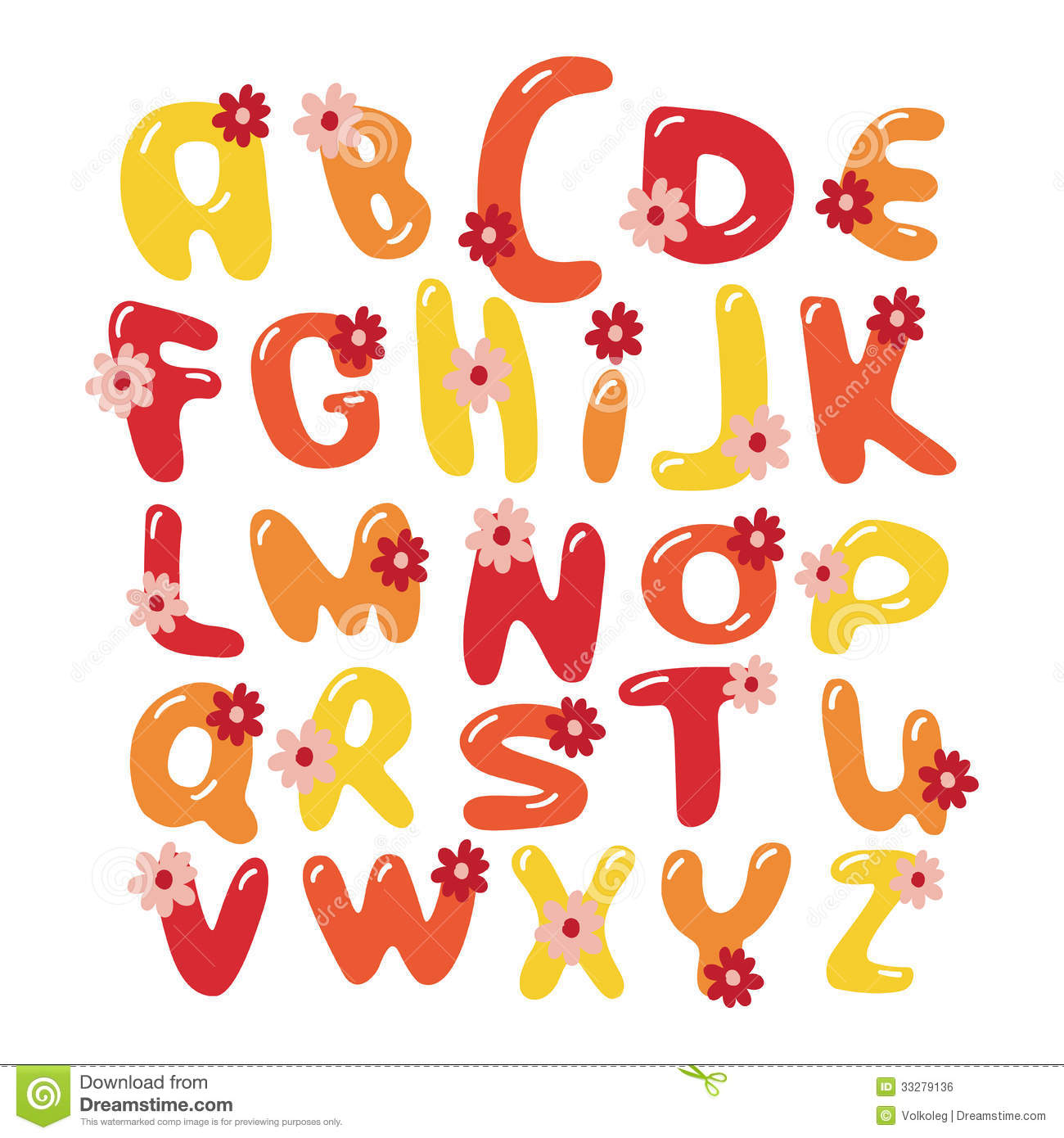 Vector Colorful Flowers Font Alphabet