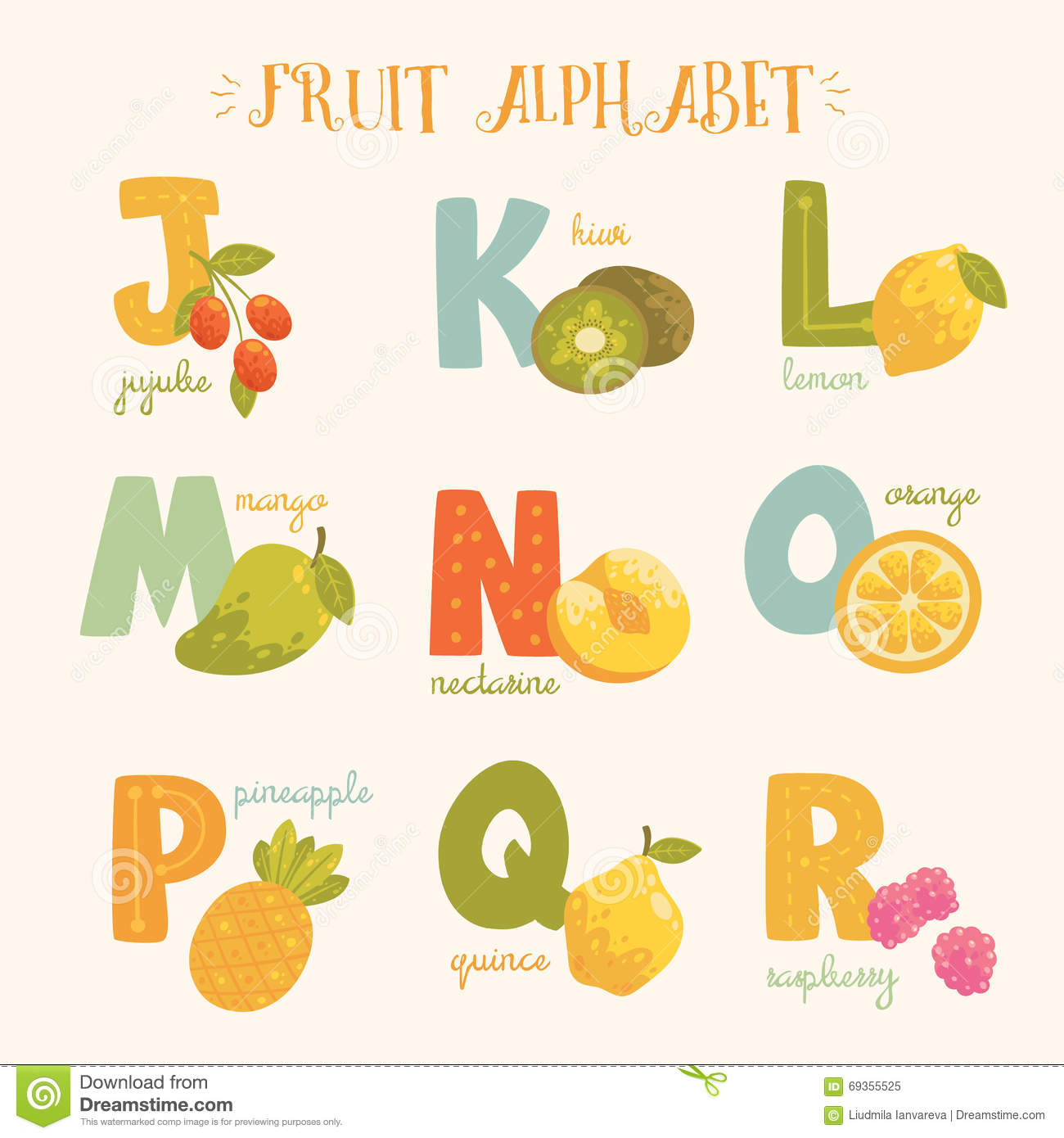 Vector Colorful Fruit Alphabet. Stock Vector - Image: 69355525