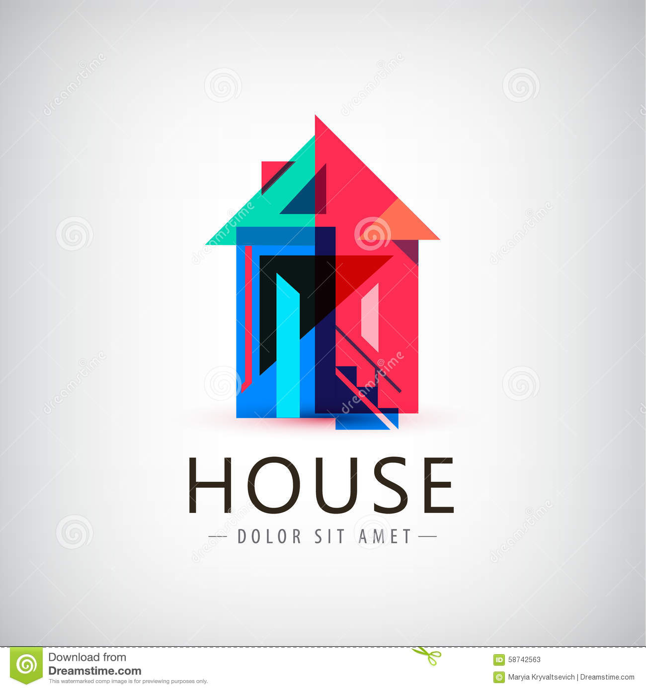 Vector colorful geometric house stock vector image 58742563 for Modern house logo