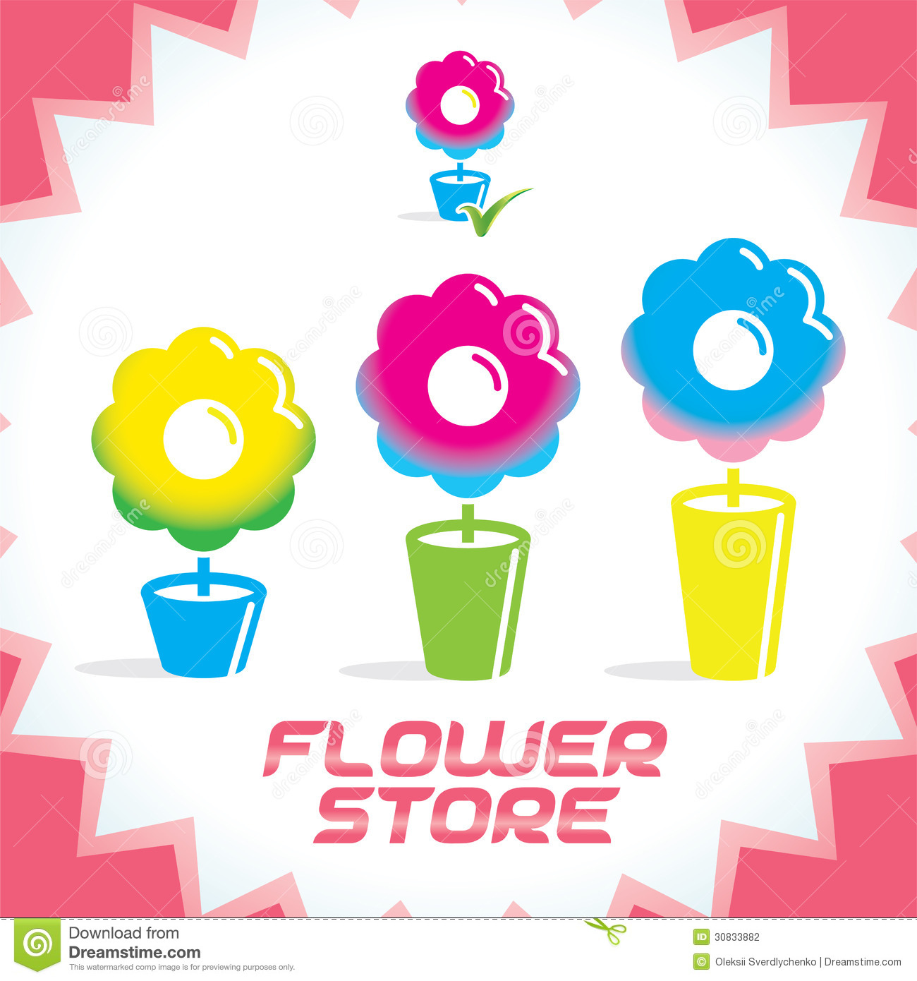 Vector Colorful Glossy Flower Shop Icons Stock Photography