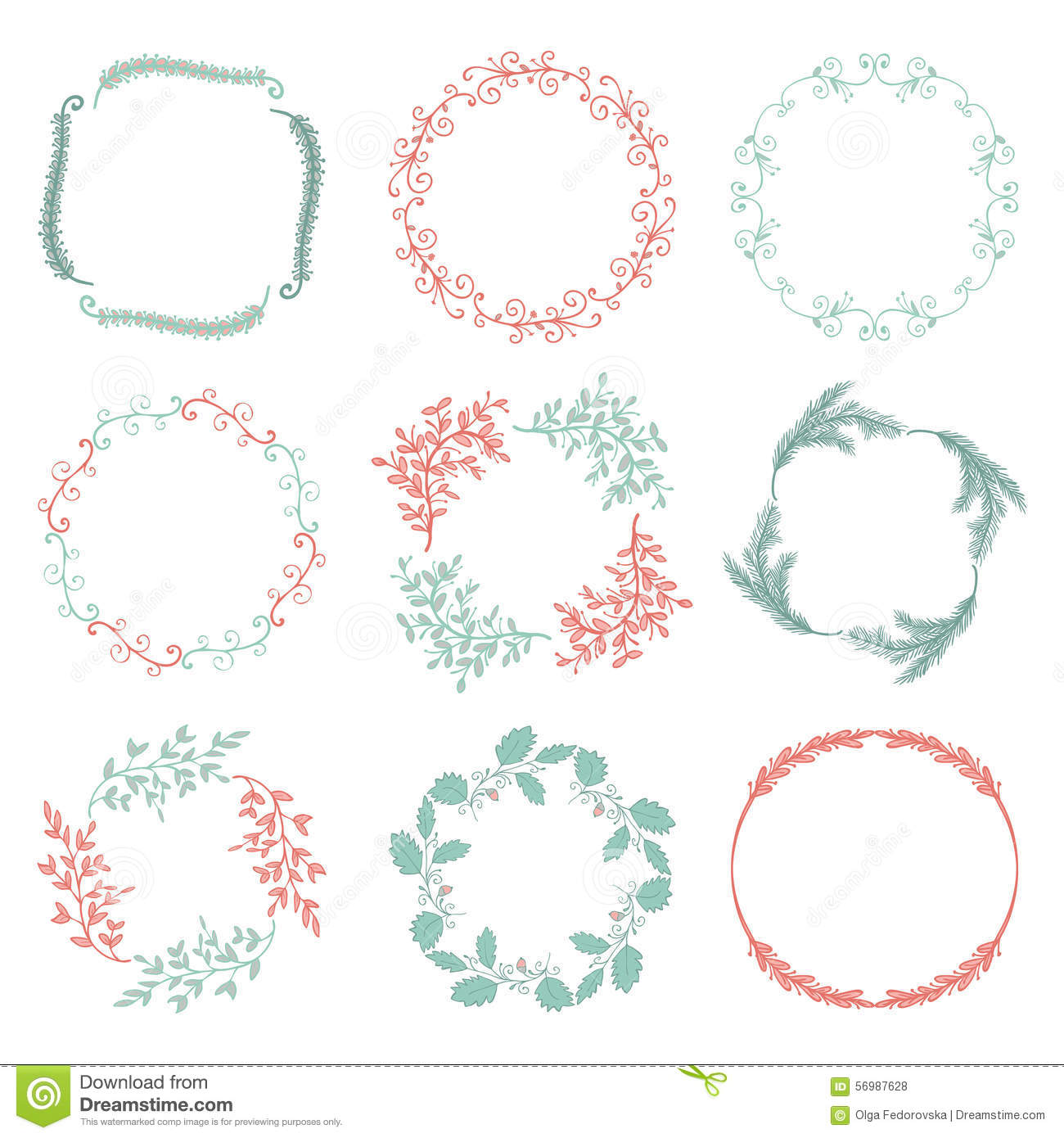 Vector Colorful Hand Sketched Floral Frames Stock