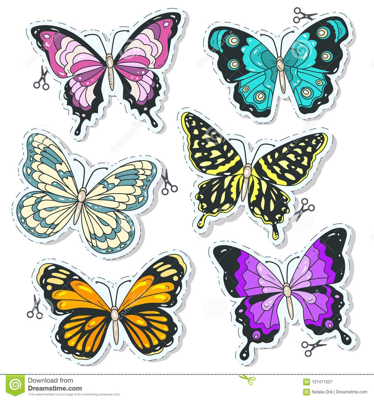 Vector Colorful Icons Set Various Decorative Butterflies Stock