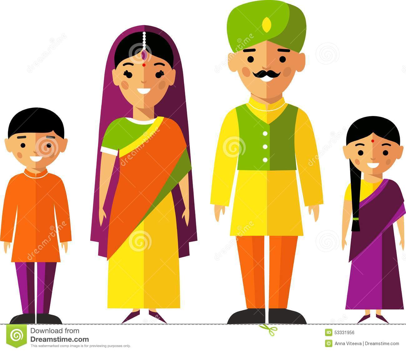Vector Colorful Illustration Of Indian Family In National ...