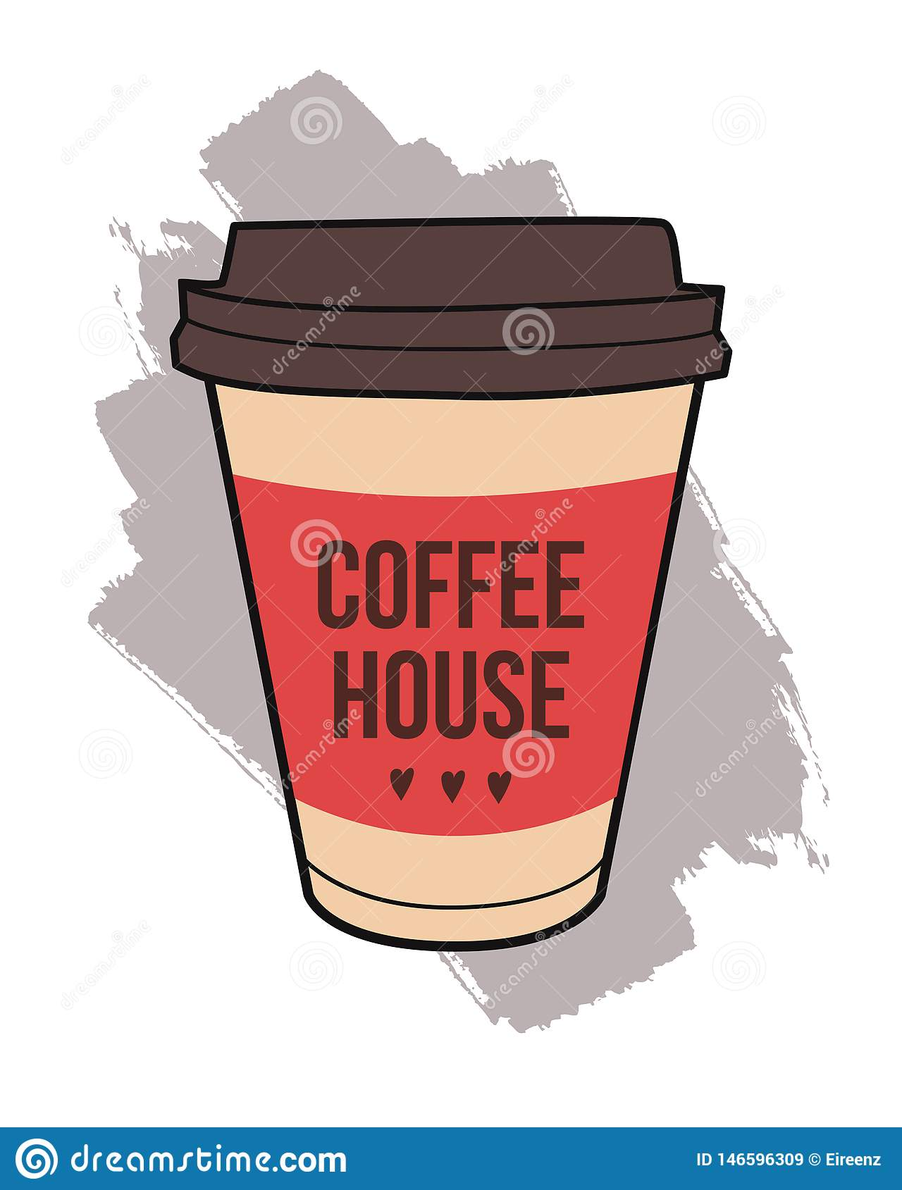 Trendy Poster Designs: Vector Illustration Of Take-out Coffee Cup. Trendy Poster