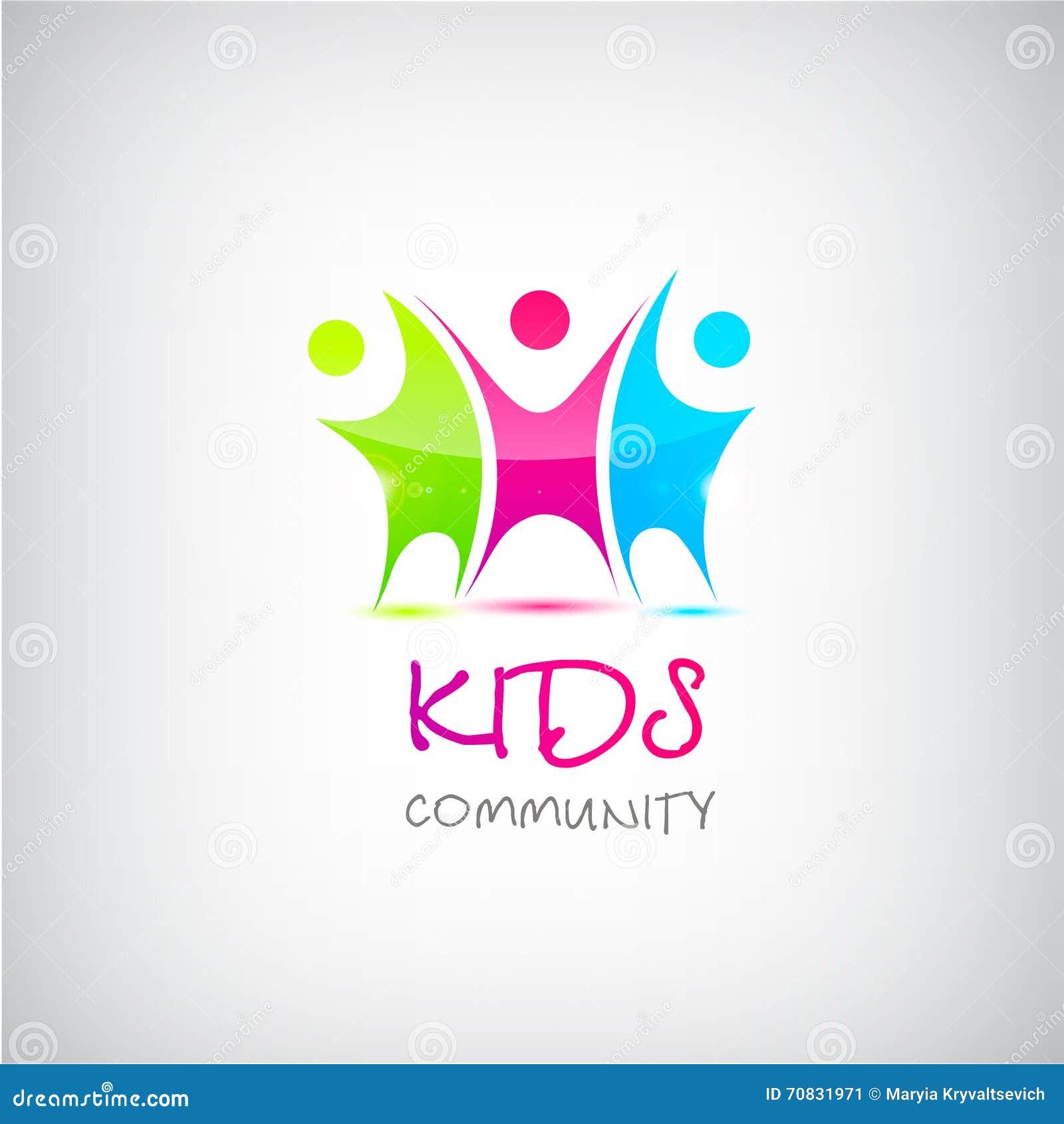 Vector colorful kids logo, children