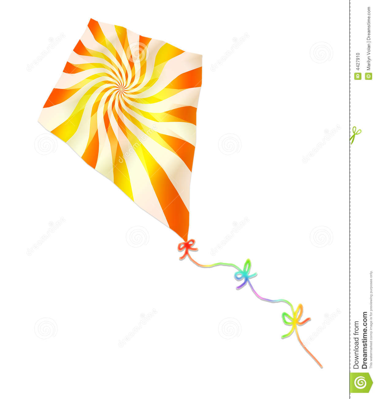 Illustration of a flying kite with a twirling orange and yellow design ...