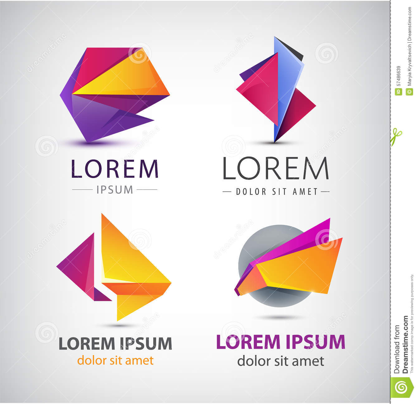 Vector Colorful Origami Icon Set Design Elements Stock