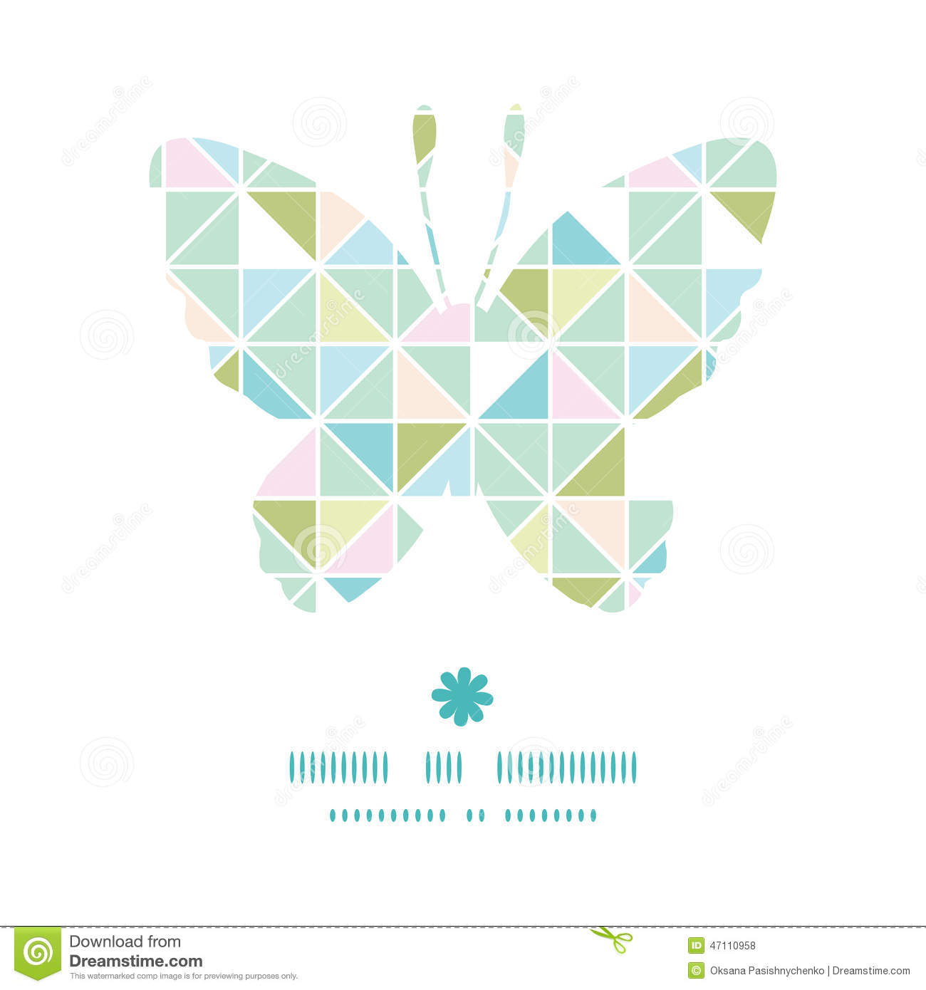 vector colorful pastel triangle texture butterfly stock