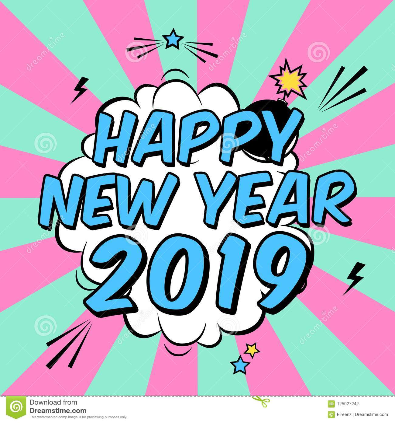Vector Colorful Poster Happy New Year 2019 In Pop Art ...