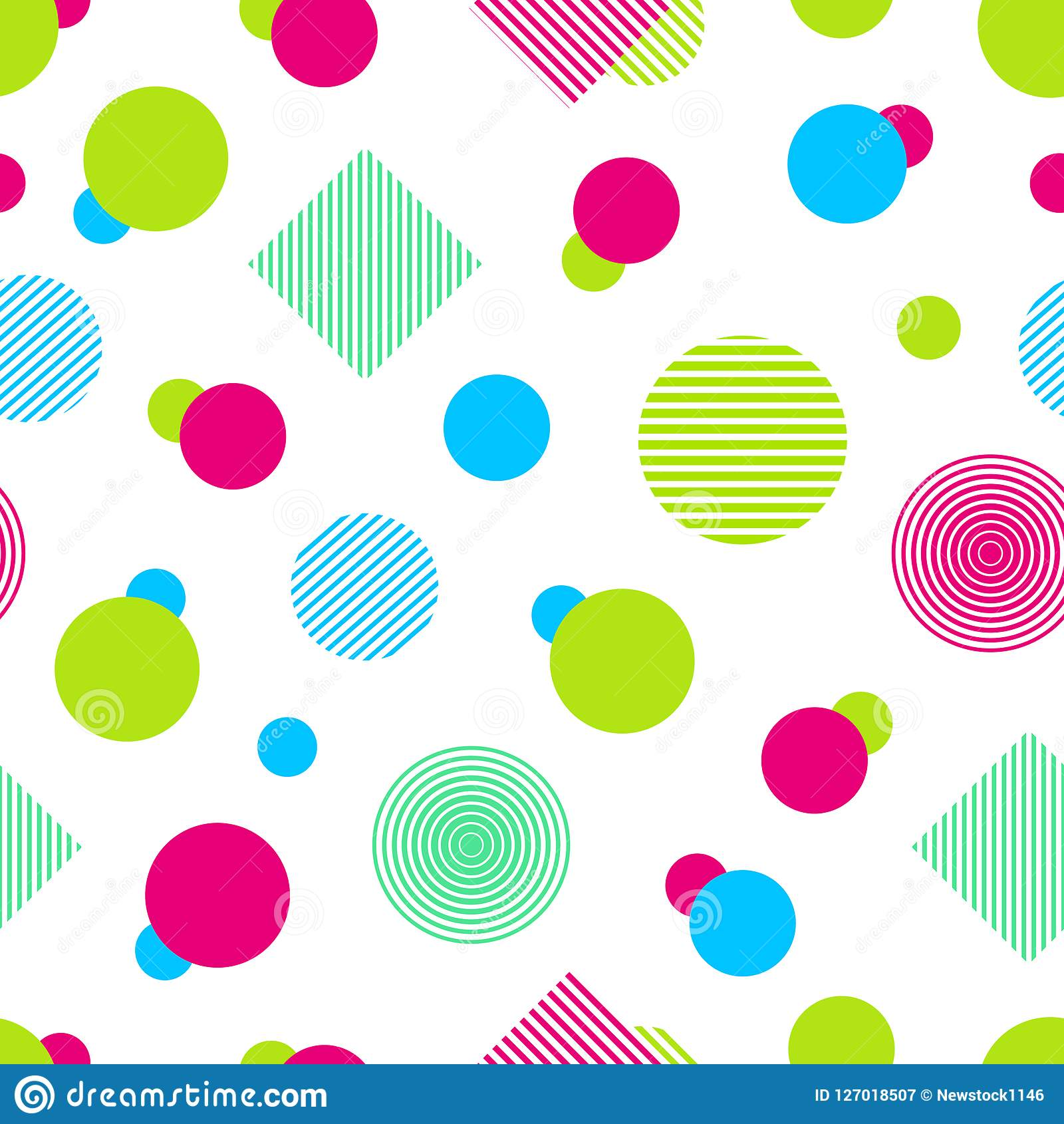 Vector colorful seamless pattern. Abstract background in bright colors. Colored geometric shapes. Simple modern repeated texture.