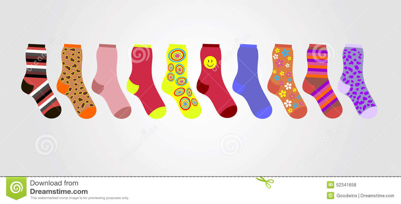 Vector colorful socks on a gray background in line