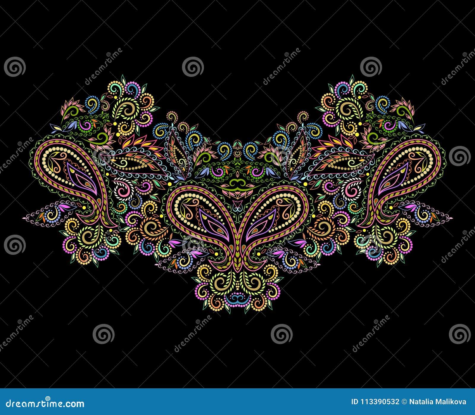 Neckline Ethnic Design Floral Bohemian Pattern Stock Vector