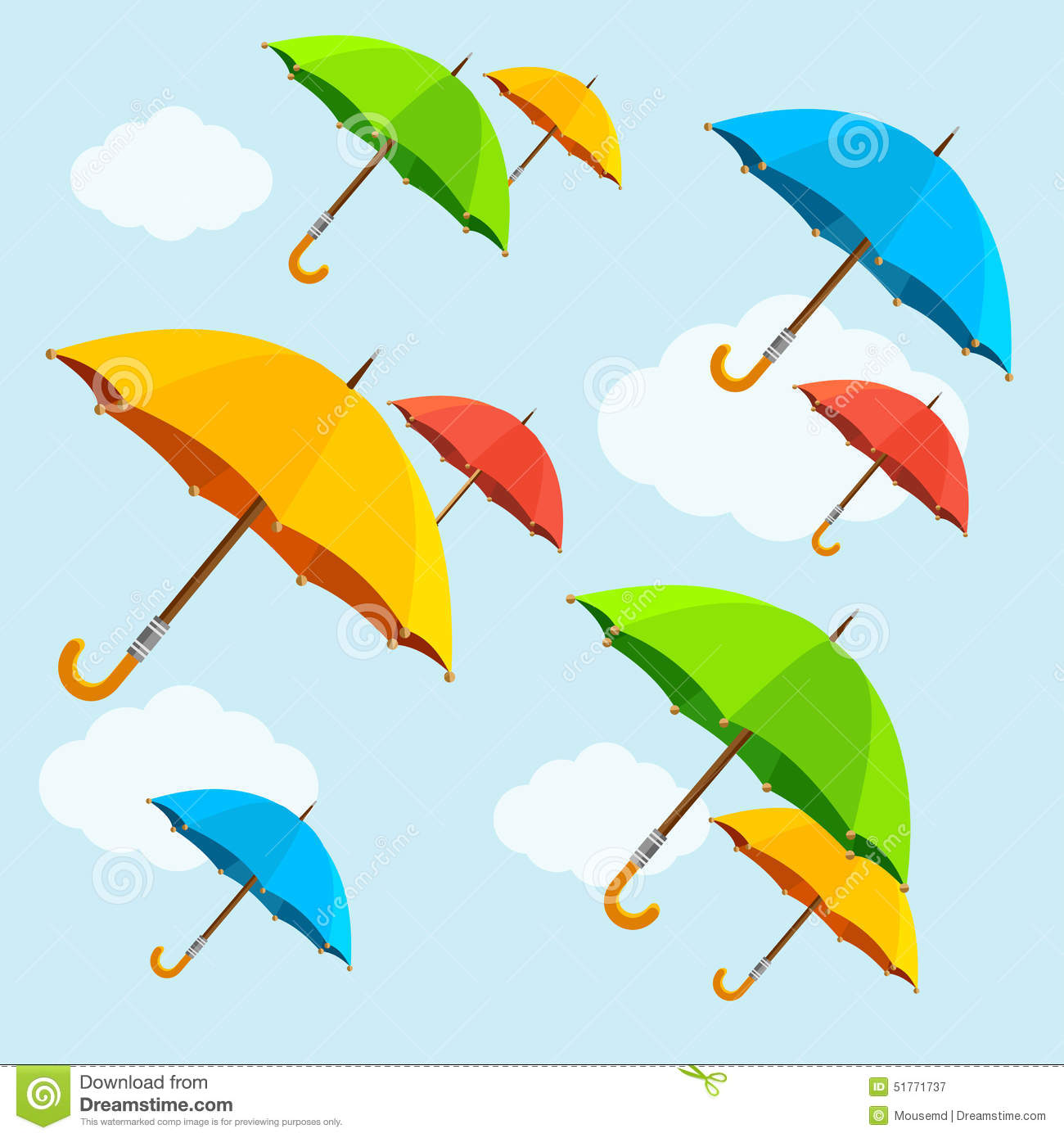 Vector Colorful Umbrellas Fly With Clouds. Flat Stock ...