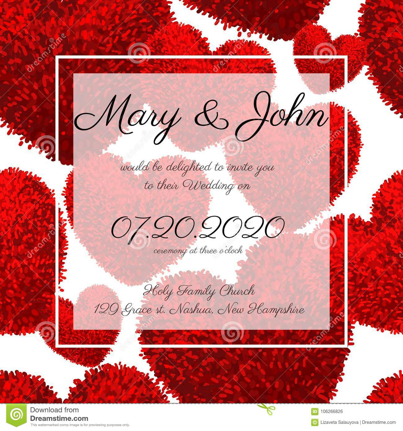 Wedding Invitations With Fluffy Hearts Stock Vector - Illustration ...