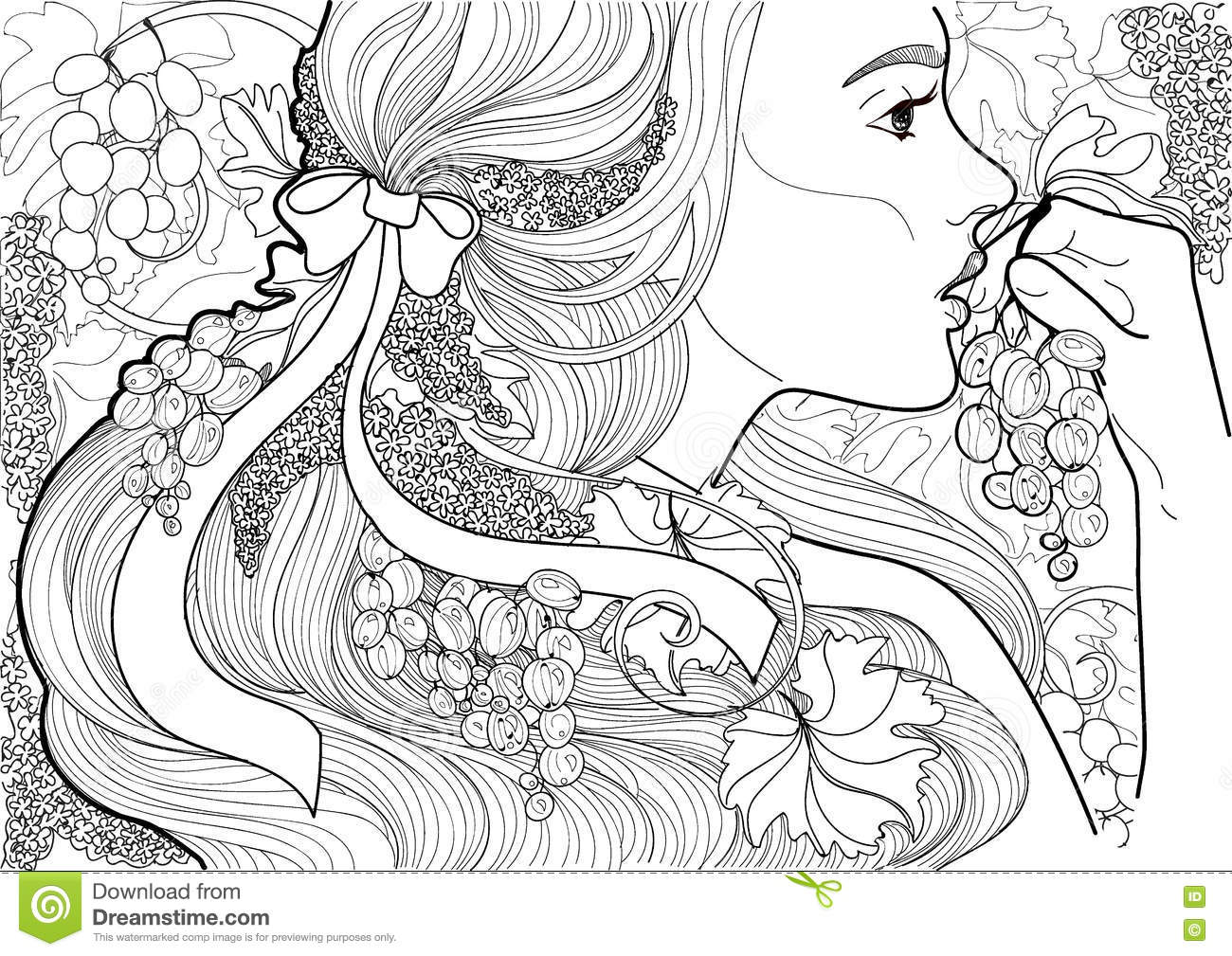 Vector Coloring Beautiful Girl With A Ribbon In Her Hair And Vine ...