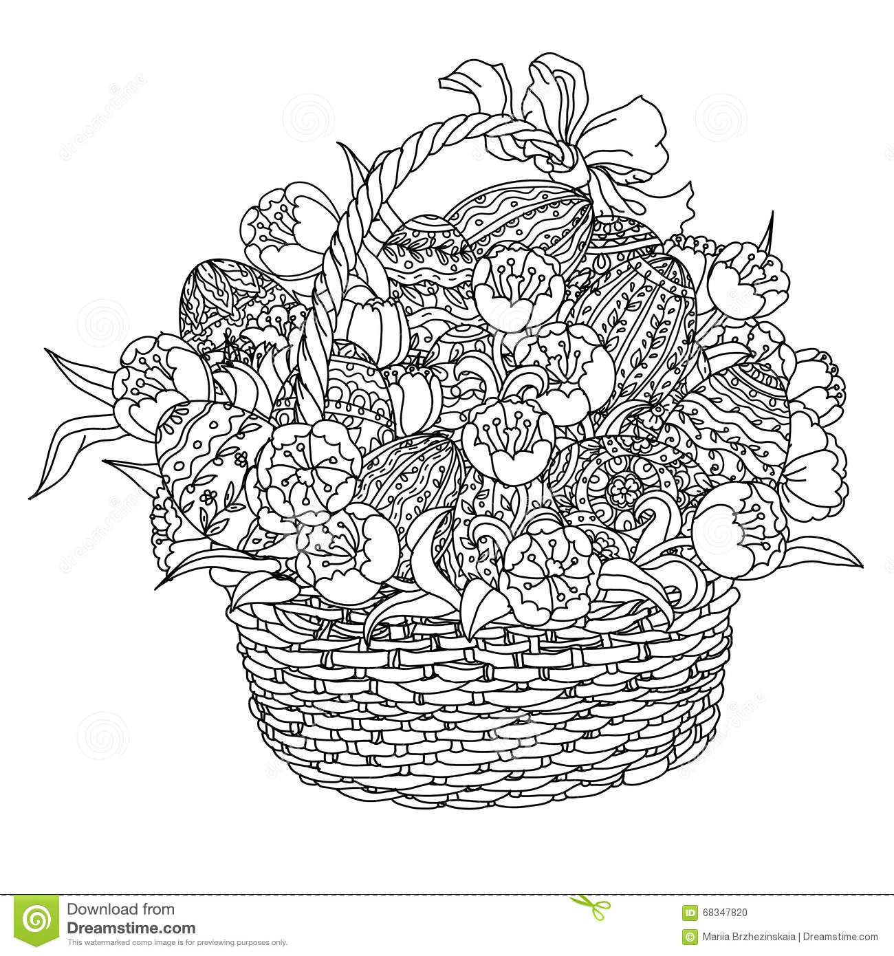 Vector Coloring Book For Adult. Easter Egg Stock Vector ...