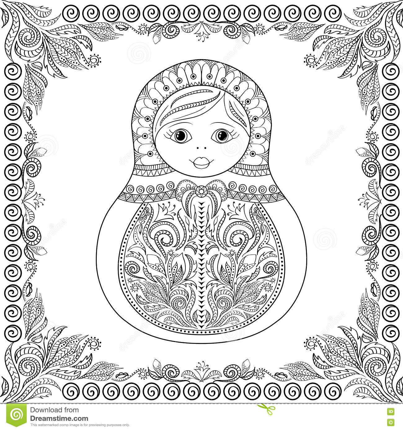 Vector Coloring Book For Adult And Kids Russian