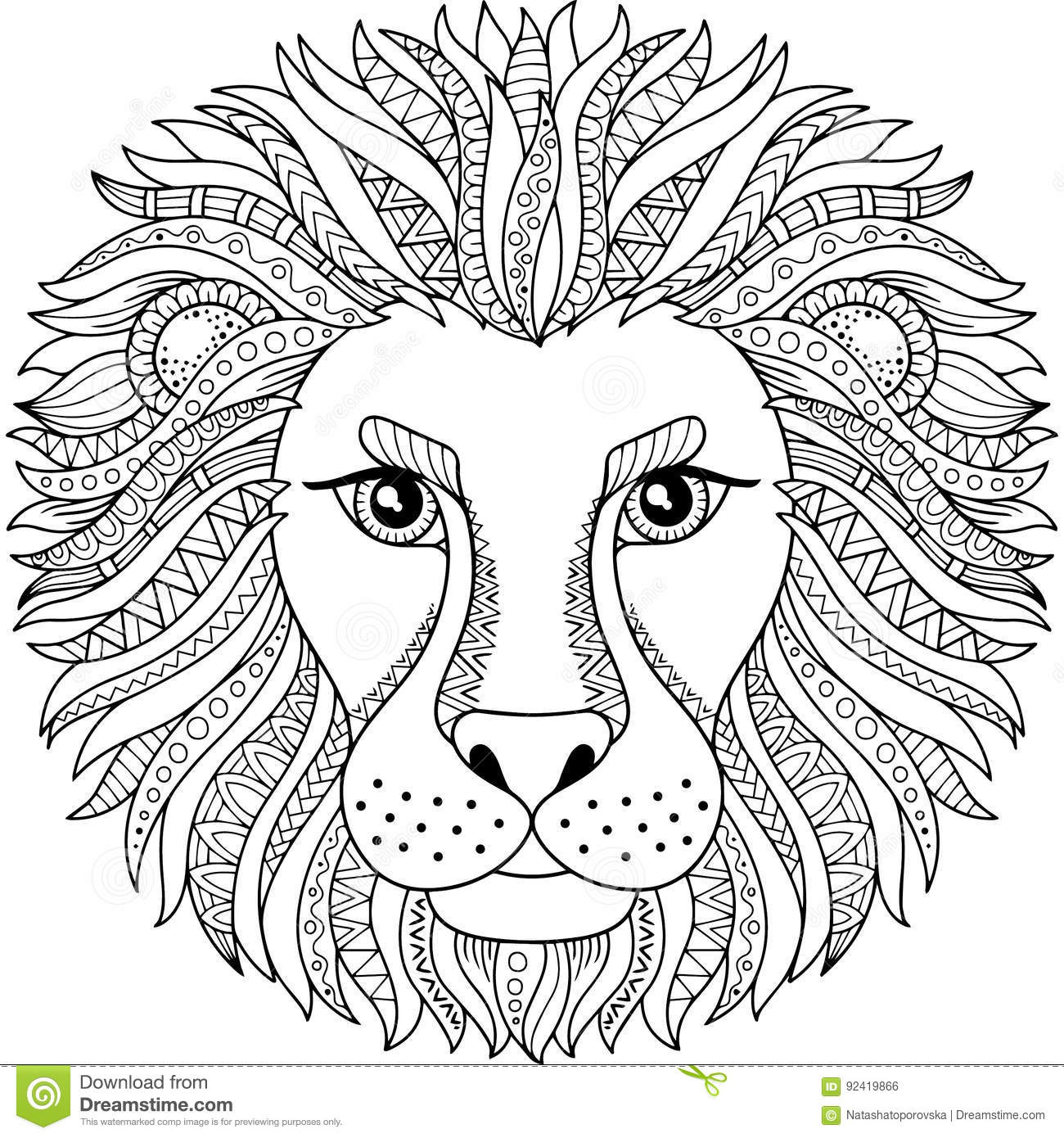 Vector Coloring Book For Adult. Silhouette Of Lion Isolated On White ...