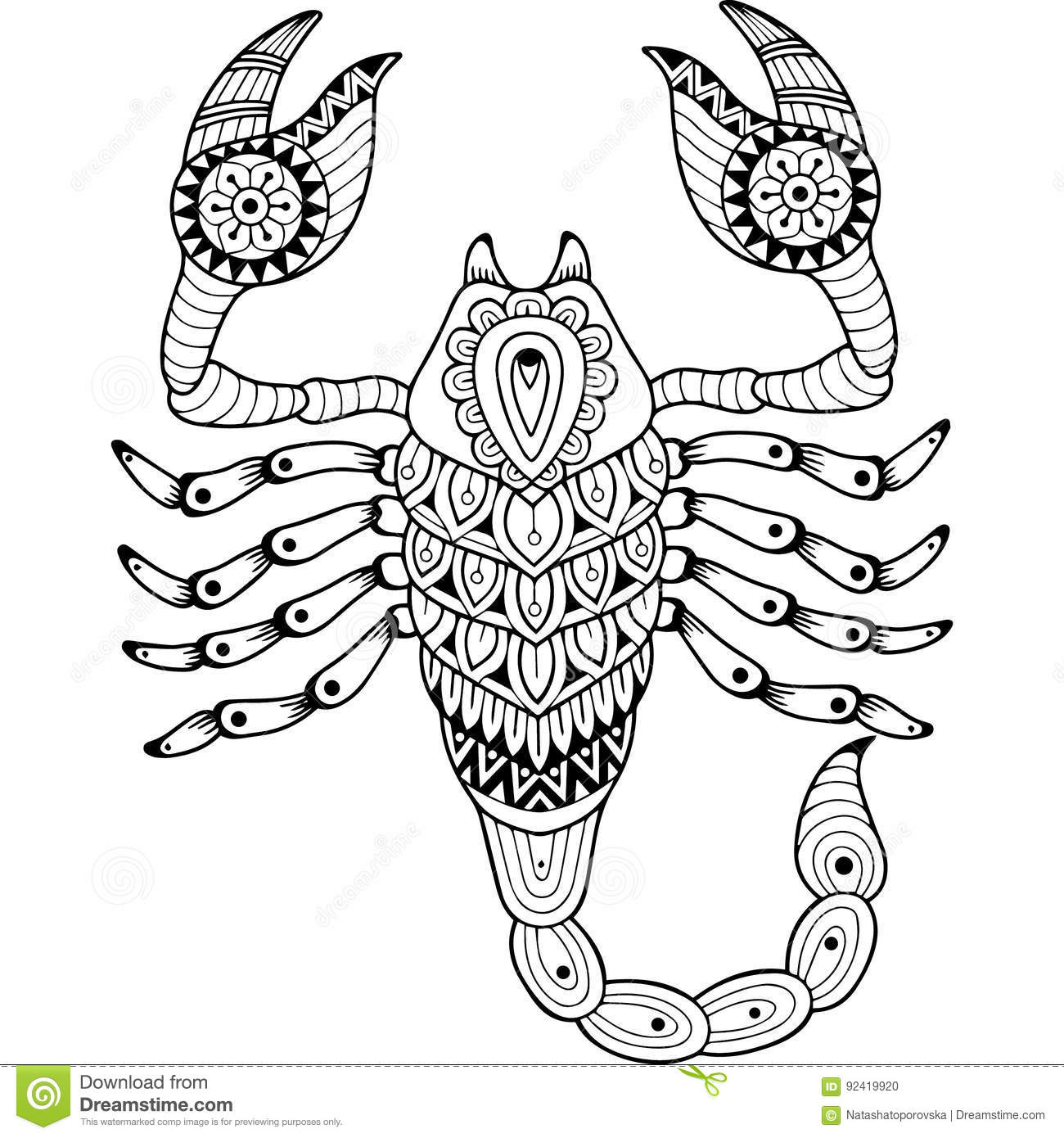vector coloring book for adult silhouette of scorpion