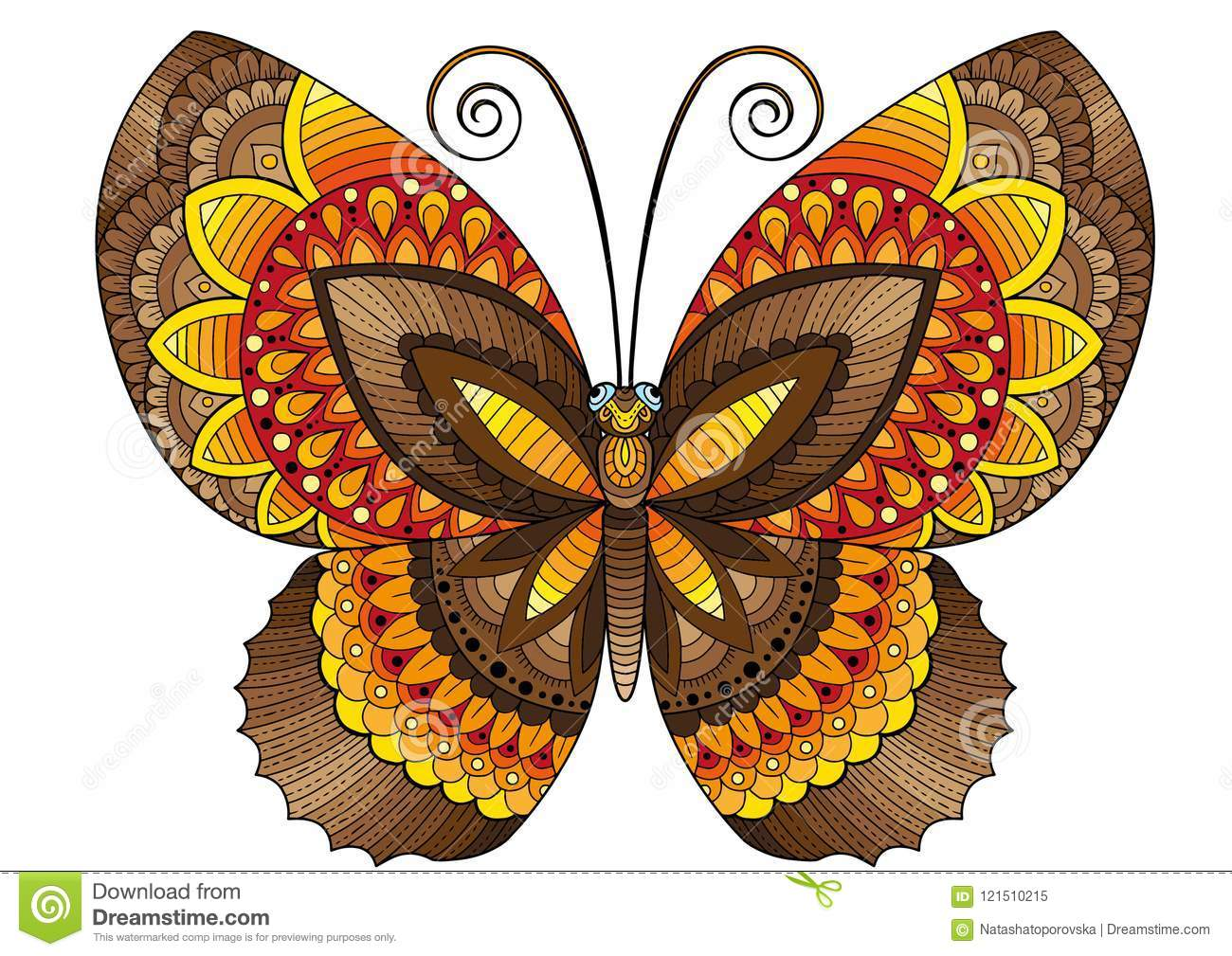 Decorative Butterfly Of Bright Colors Image For Print On Clothes Coloring Backgrounds