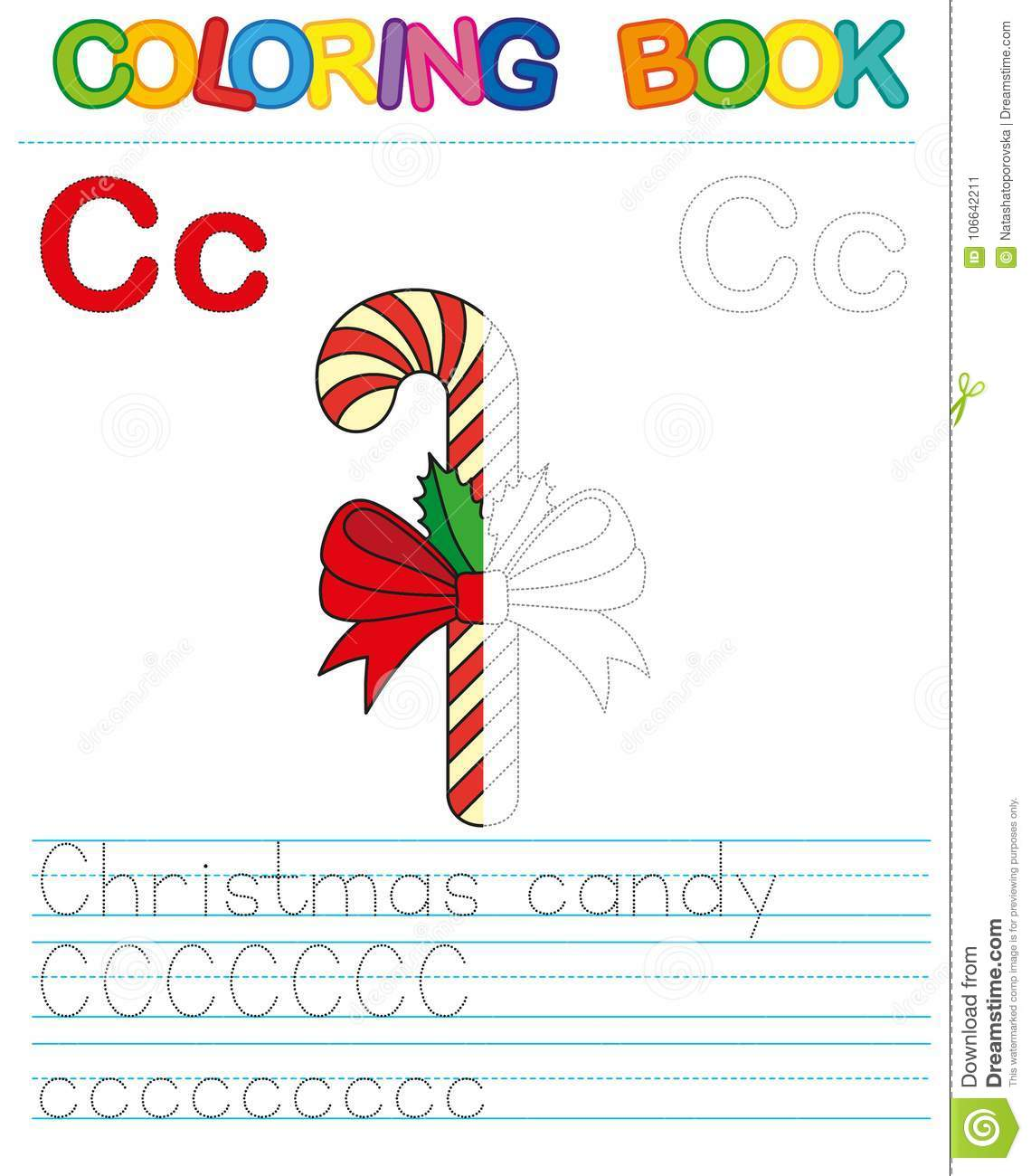 Vector coloring book alphabet. Restore dashed line and color the picture. Letter C. Christmas candy