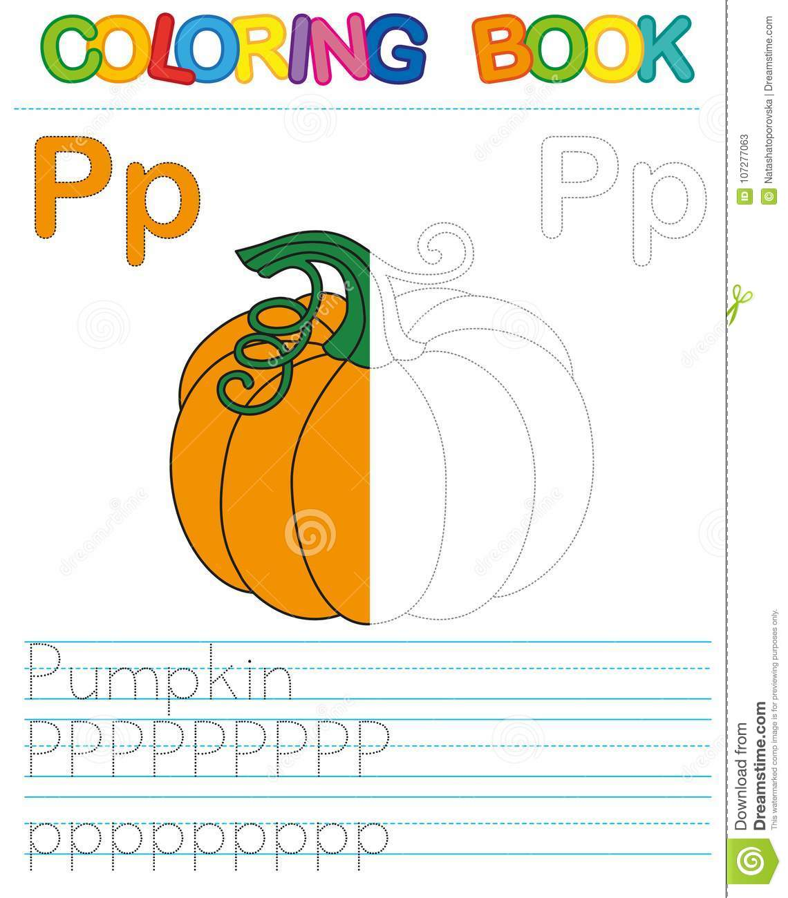 Vector coloring book alphabet. Restore dashed line and color the picture. Letter P. Pumpkin