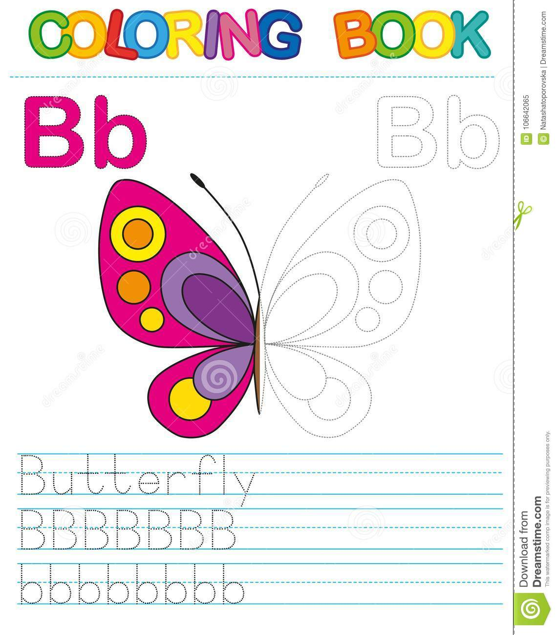 Vector coloring book alphabet. Restore dashed line and color the picture. Letter B. Butterfly