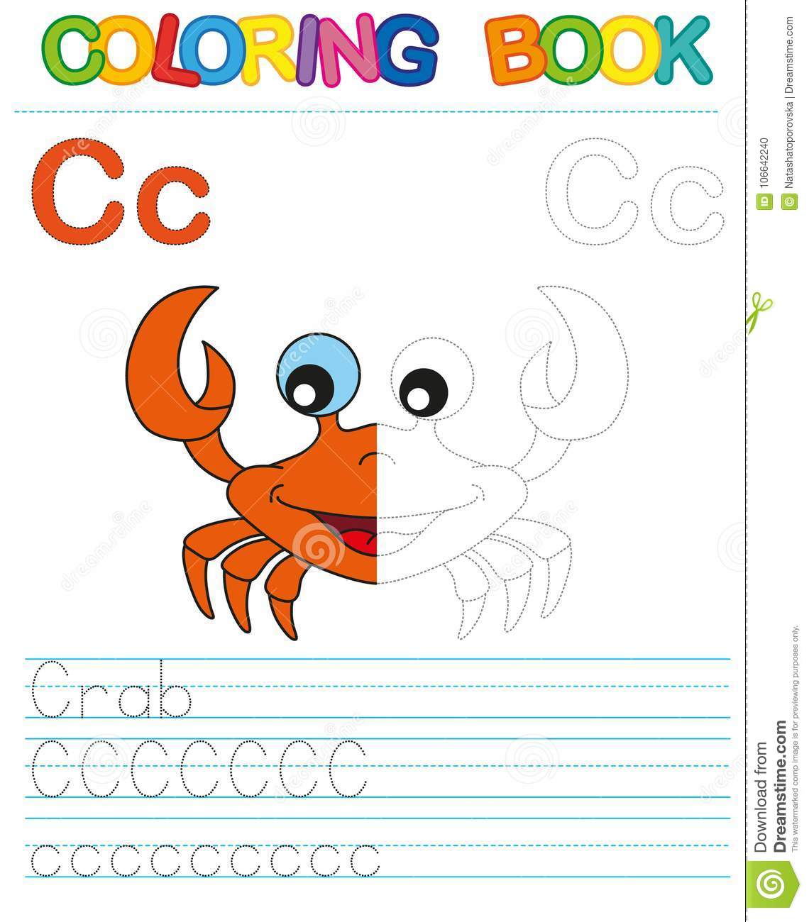 Vector coloring book alphabet. Restore dashed line and color the picture. Letter C. Crab