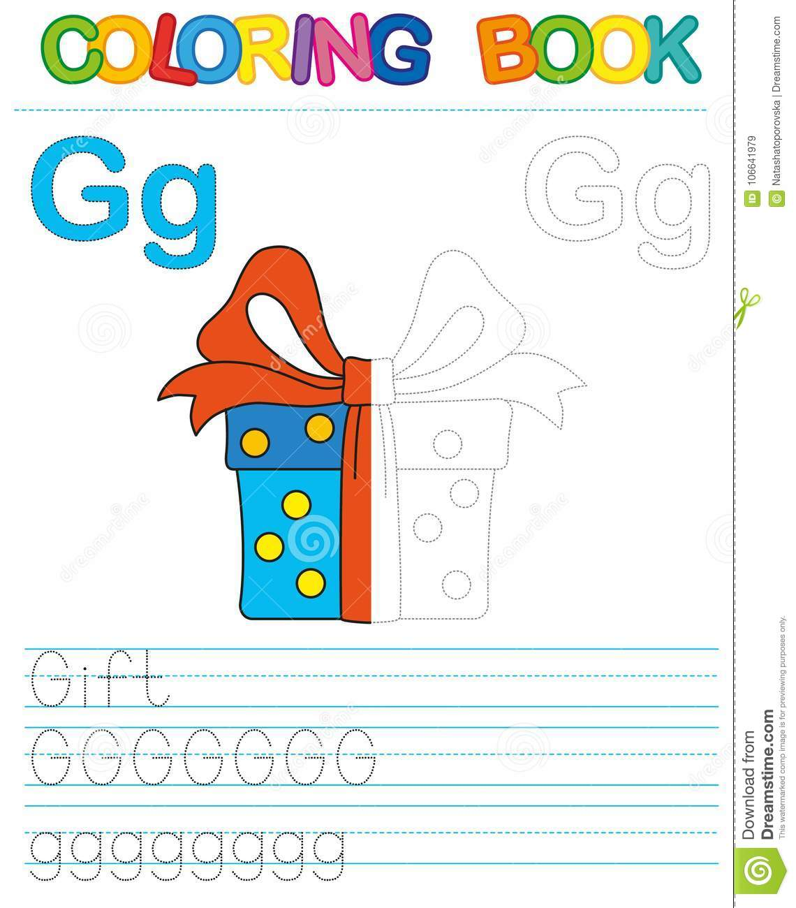 Vector Coloring Book Alphabet Restore Dashed Line And Color The