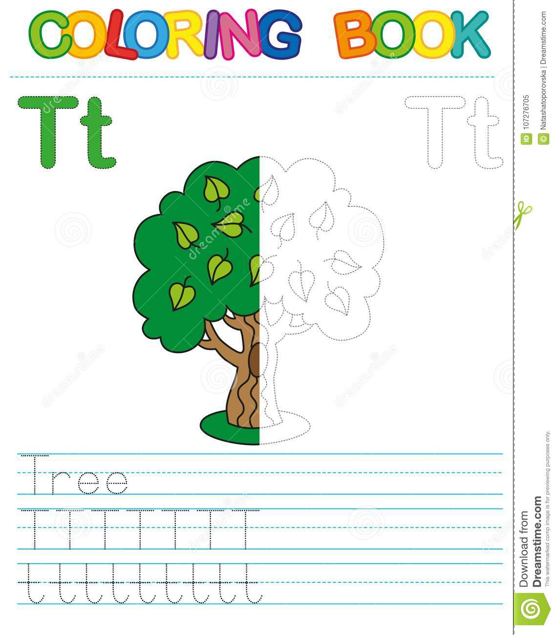 Vector Coloring Book Alphabet. Restore Dashed Line And Color The ...