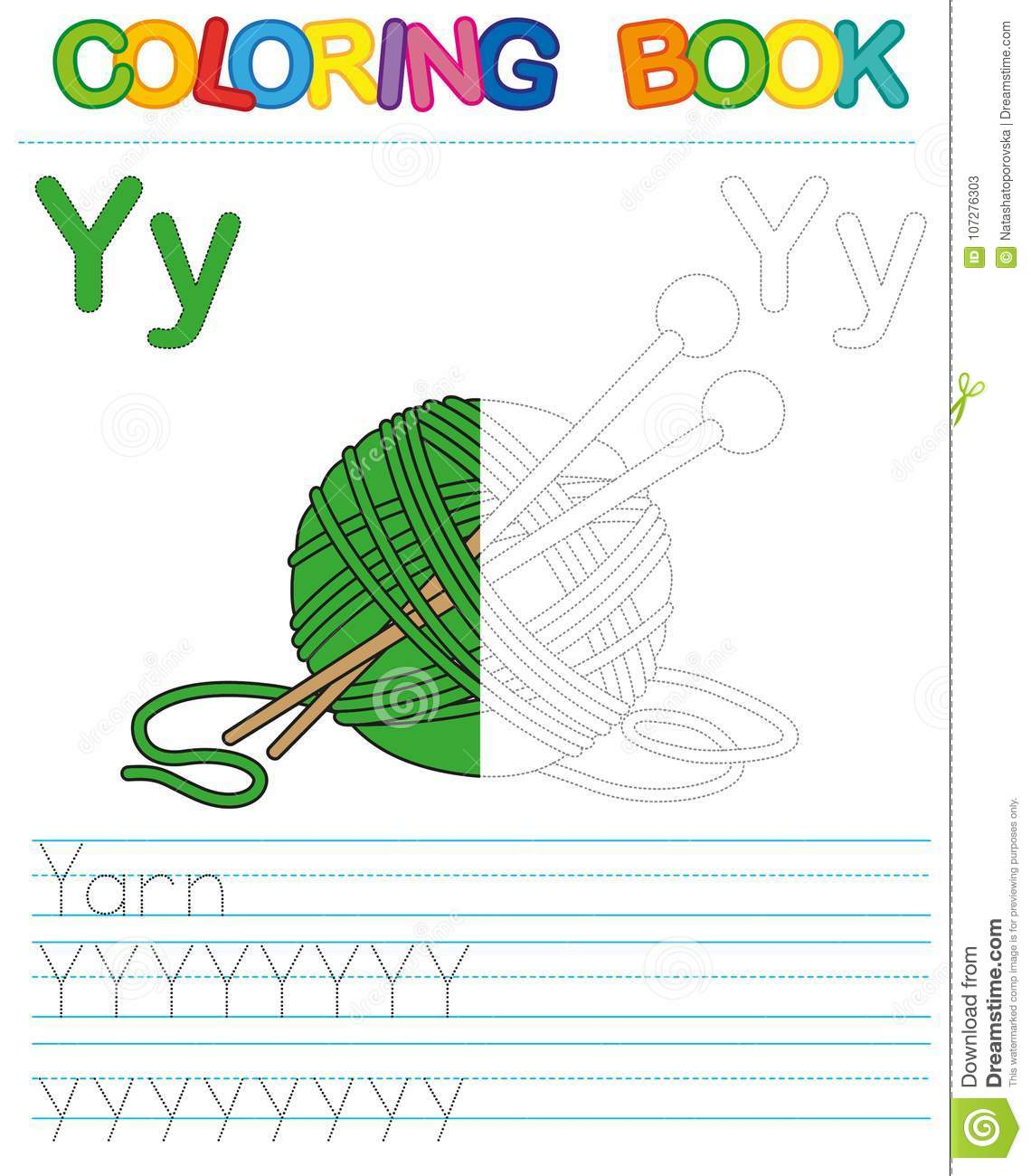 Vector coloring book alphabet. Restore dashed line and color the picture. Letter Y. Yarn