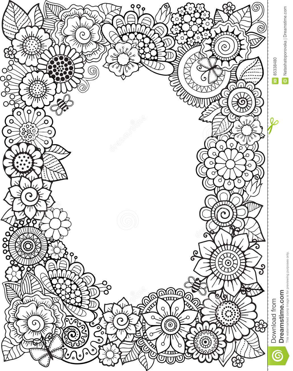 Vector Coloring book anti-stress for adults. Doodle elements. Decorative floral frame.