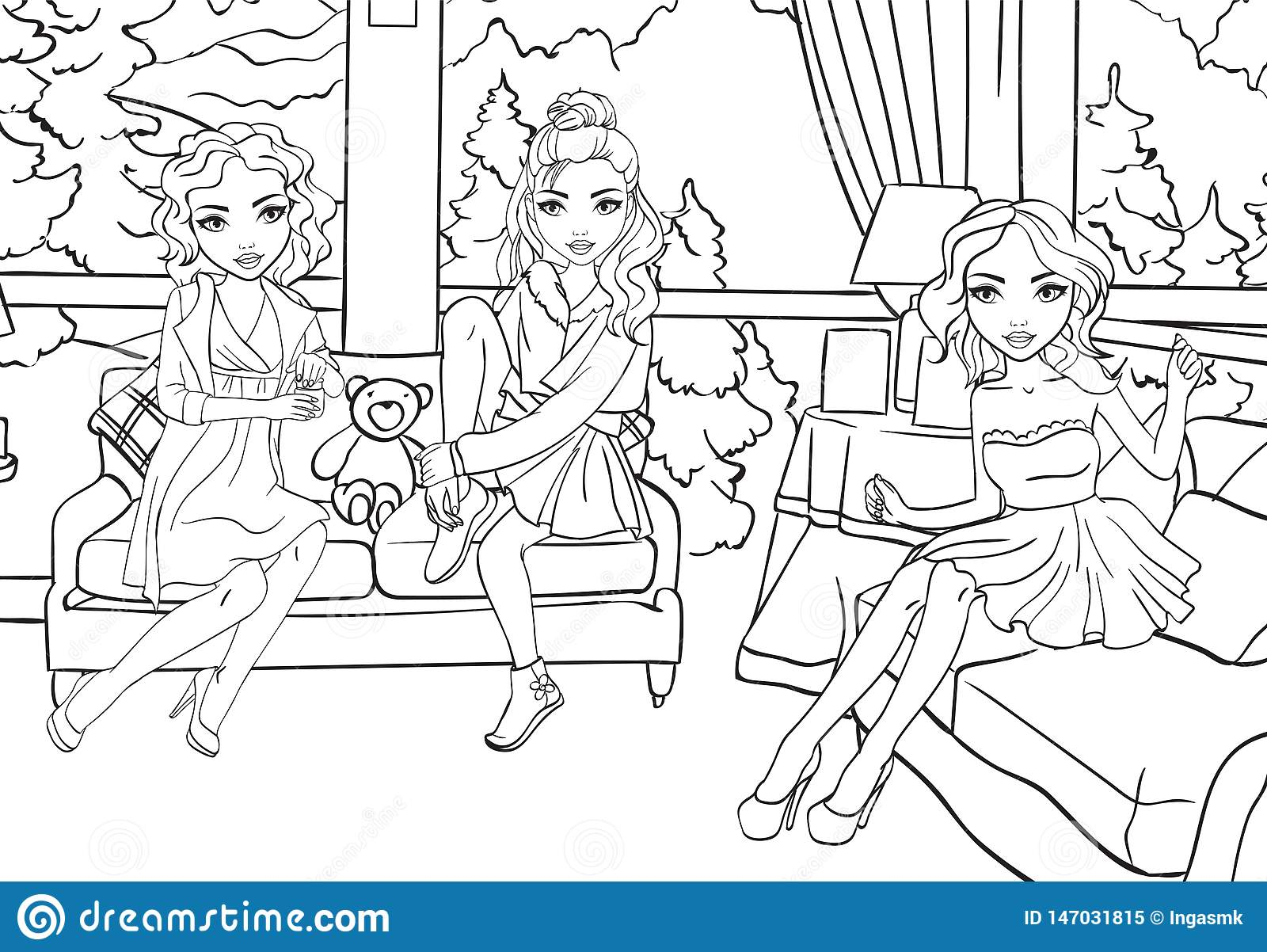 Coloring Book Of Girls Sit In Living Room Stock Vector Illustration Of Young Face 147031815