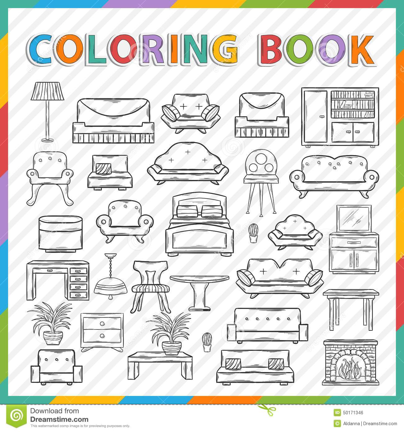 Vector Coloring Book Home Interior Stock Vector Image