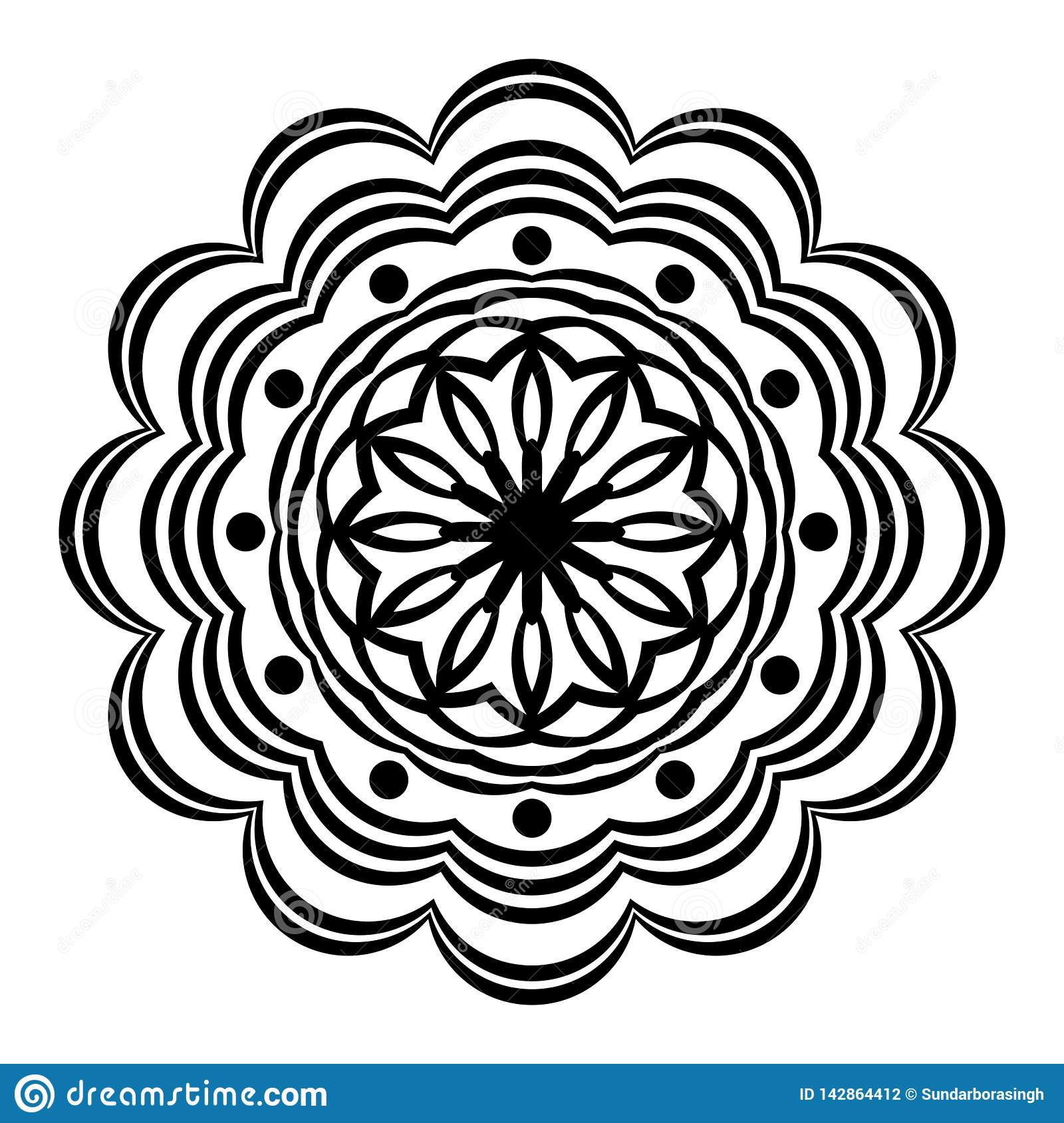 Abstract Vector Black And White Mandala Ornament, Round Paper Fan