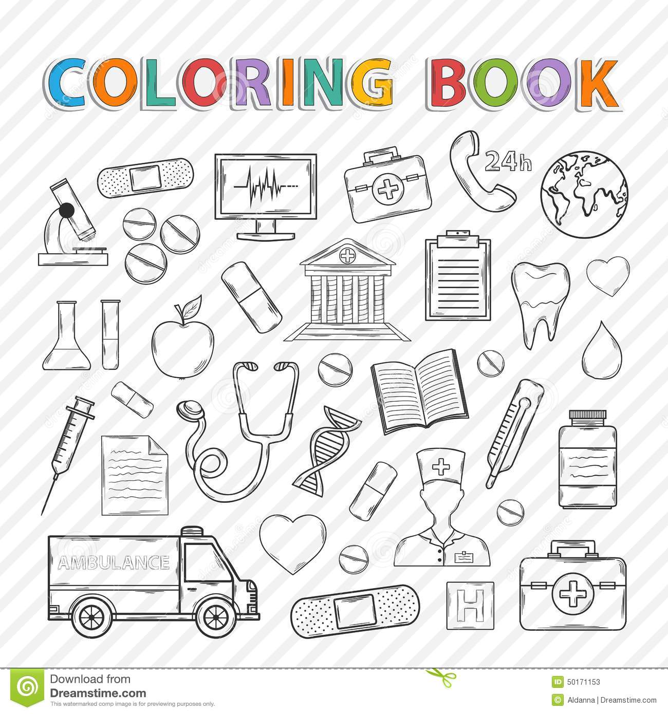 Vector Coloring Book.Medical Set Stock Vector - Illustration of ...