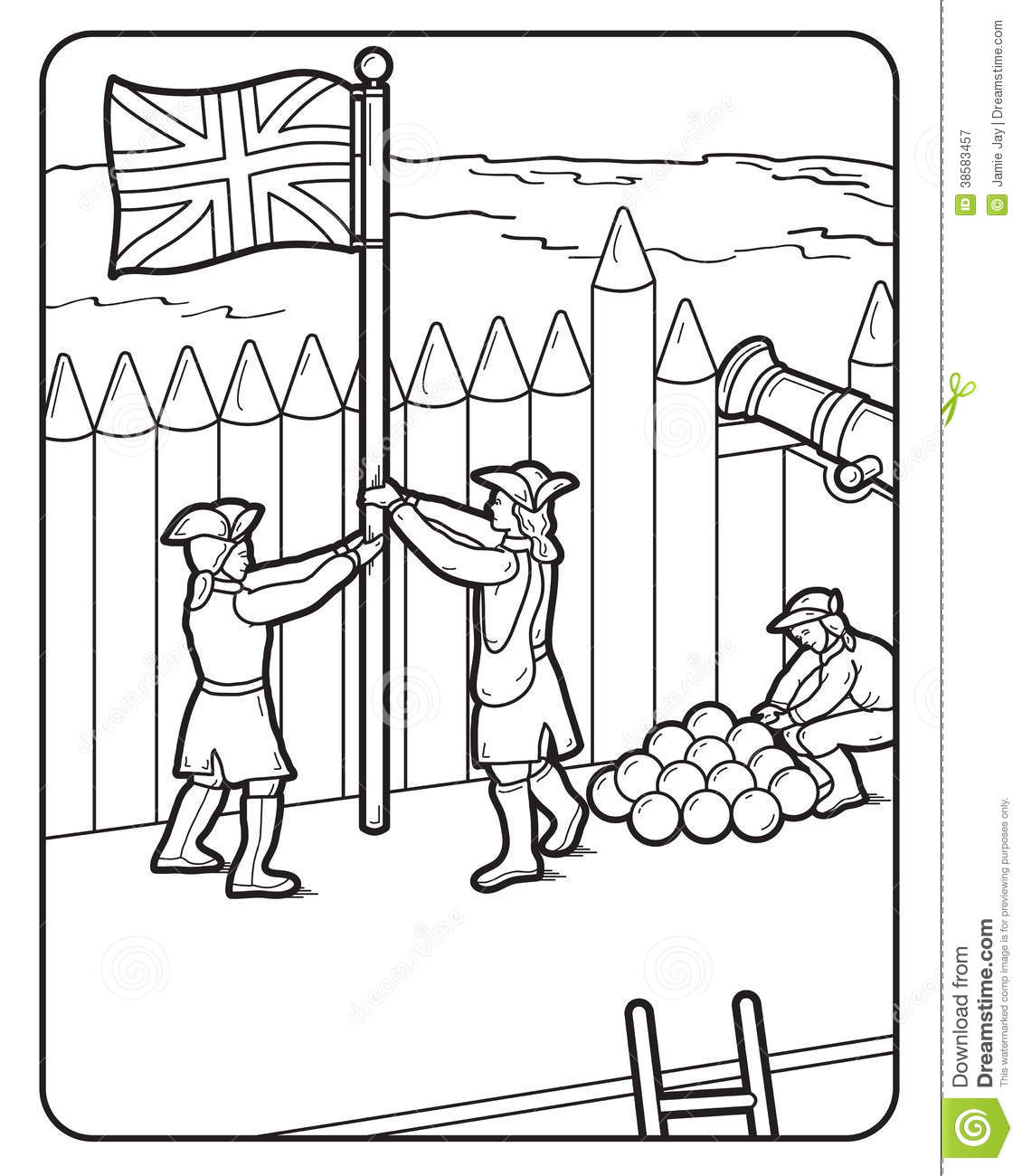 Vector Coloring Book Page, British Flag, Soldiers, Stock Vector ...