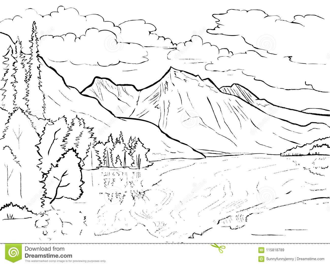 Vector Coloring Page Canadian Landscape