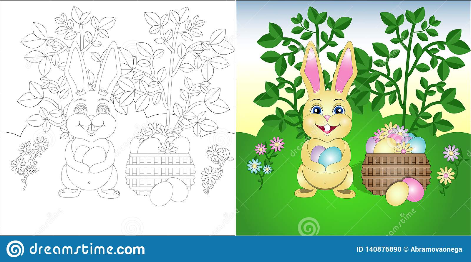 Vector Coloring Page Easter Bunny On The Lawn Stock Vector ...