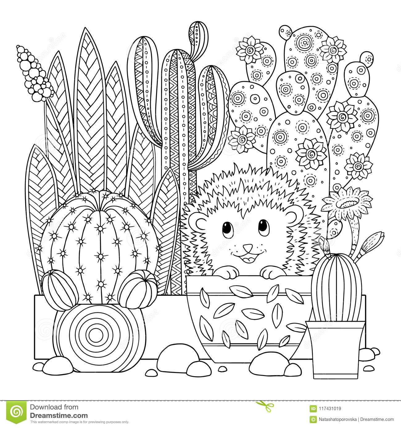 Vector Coloring Page Linear Image On White Background
