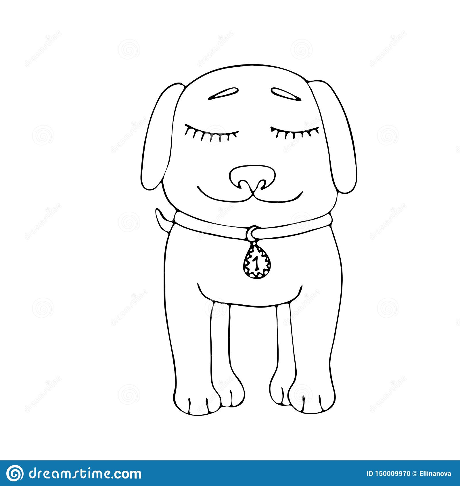Vector Coloring Page Outline Of Cartoon Dog Coloring Book ...